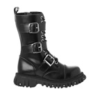 Black Leather 3-Buckle Combat Boots