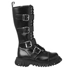 Black Leather 4-Buckle Boots