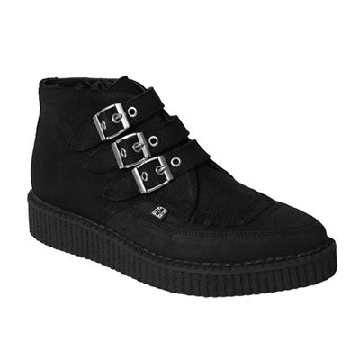TUK Black Suede Pointed Toe Creeper Boots