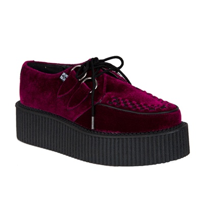 tuk burgundy velvet mondo creeper shoes tuk shoes