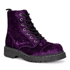 Womens PURPLE Velvet Combat Boots