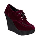 TUK Burgundy Velvet Wedge Creepers
