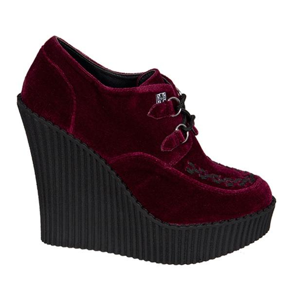 tuk burgundy velvet wedge creepers tuk shoes