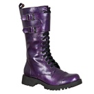 Womens PURPLE Lace-up Combat Boots