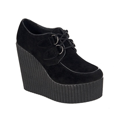 Black Vegan Suede Wedge Creepers