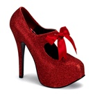 TEEZE-04 Red Glitter Platform Pumps