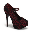 TEEZE-07 Red Lace Platform Pumps