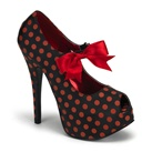 TEEZE-25 Black Red Polka Dot Heels