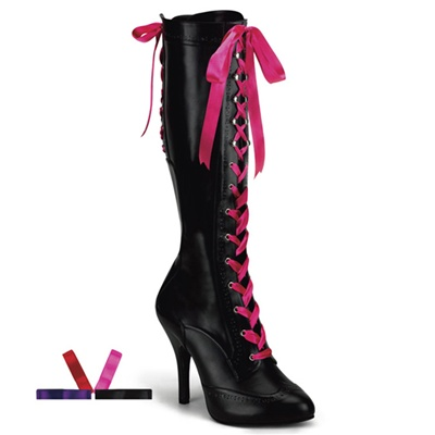 TEMPT-125 Ribbon Lace-up Knee Boots