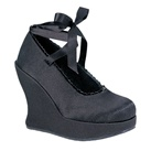 BRAVO-07 Demonia Black Satin Wedge Platform Pumps