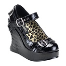 Demonia BRAVO-10 Strapped Wedge Mary Jane Shoes