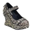 Demonia BRAVO-10G Glitter Wedge Platform Mary Jane Shoes