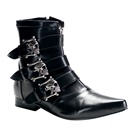 BROGUE-06 Demonia Black Skull Gothic Buckle Boots