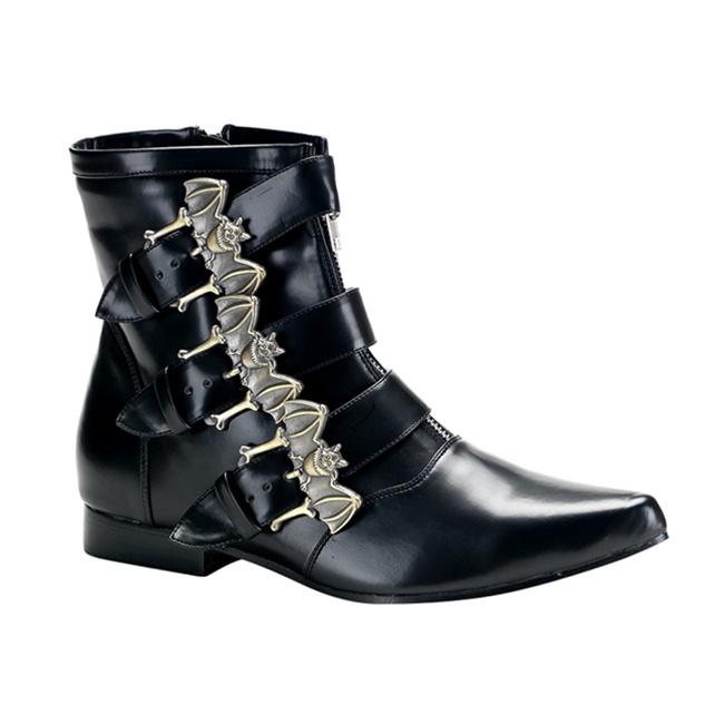 Demonia Brogue 07 Black Bat Buckle Mens Gothic Boots