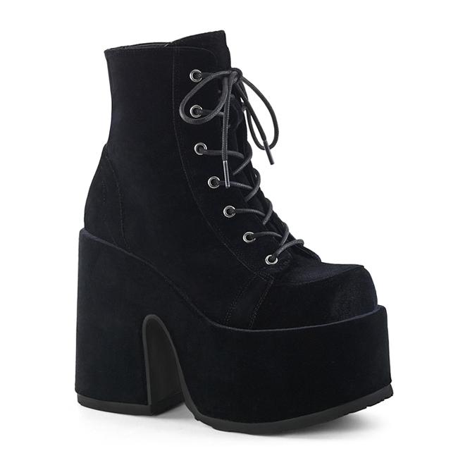 Demonia Camel 203 Black Velvet Gothic Platform Boots