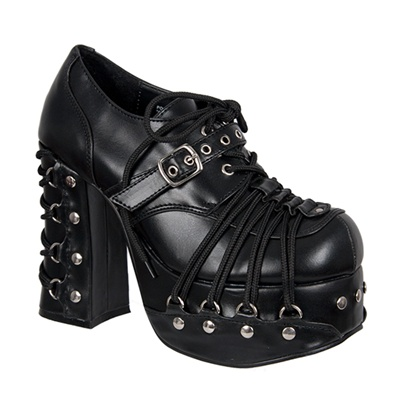 CHARADE-35 Black Lace-up Platform Shoes