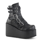 CONCORD-57 Black Wedge Platform Boots