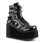 CONCORD-57 Black Buckled Platform Boots