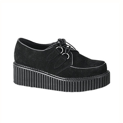 CREEPER-101 Black Suede Creeper Shoes