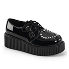 CREEPER-108 Black Heart Studded Creeper Shoes