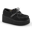 CREEPER-206 Black Studded Creeper Shoes