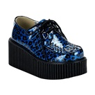 CREEPER-208 Blue Cheetah Creeper Shoes