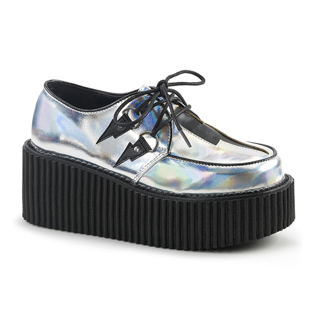 demonia creeper218 silver platform creeper shoes