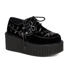 CREEPER-219 Black Velvet Creeper Shoes