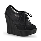 CREEPER-307 Black Lace Wedge Creepers
