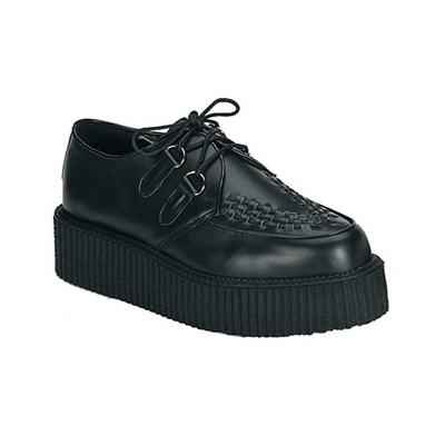 CREEPER-402 Black Leather Creeper Shoes