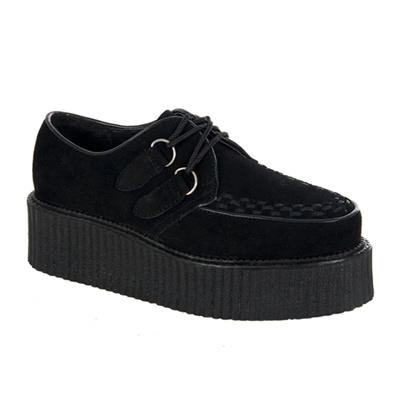 CREEPER-402 Black Suede Creeper Shoes