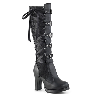 CRYPTO-106 Buckle Corset Knee High Goth Boots