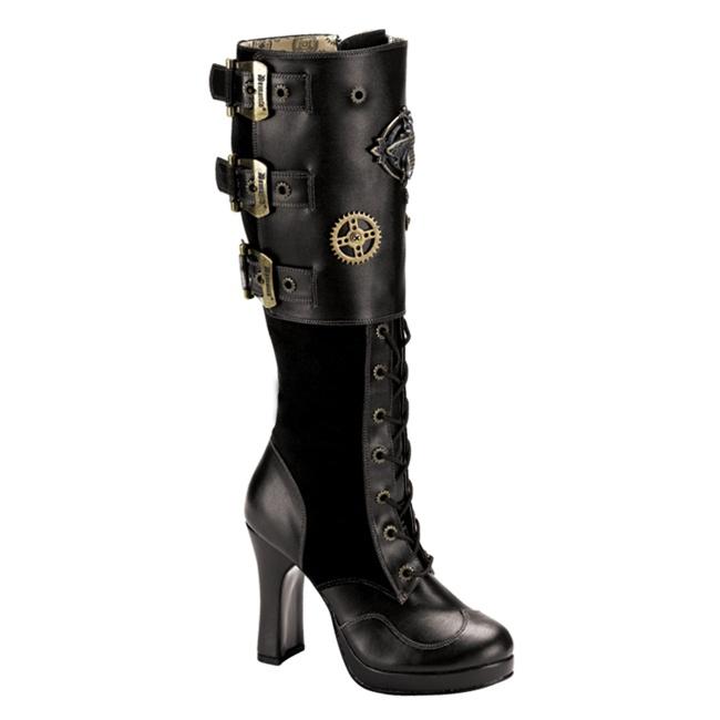 demonia crypto 302 knee high steunk boots demonia shoes