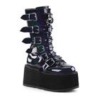 DAMNED-225 Black Hologram Buckled Platform Boots