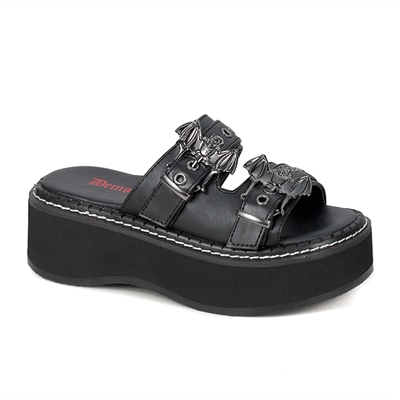 EMILY-100 Black Bat Buckle Sandals