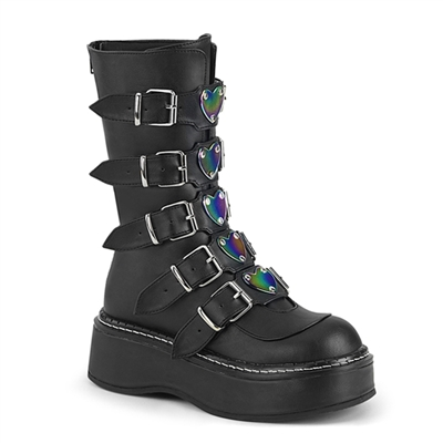 EMILY-330 Black Heart Buckle Boots