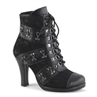 GLAM-202 Black Lace Gothic Ankle Boots