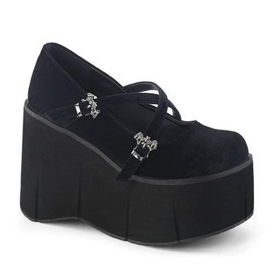 KERA-10 Black Velvet Platform Shoes