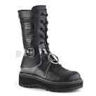Womens LILITH-271 Black Buckled Combat Boots