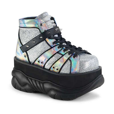 NEPTUNE-100 Silver Hologram Platform Shoes