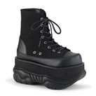 NEPTUNE-115 Black Canvas Platform Boots