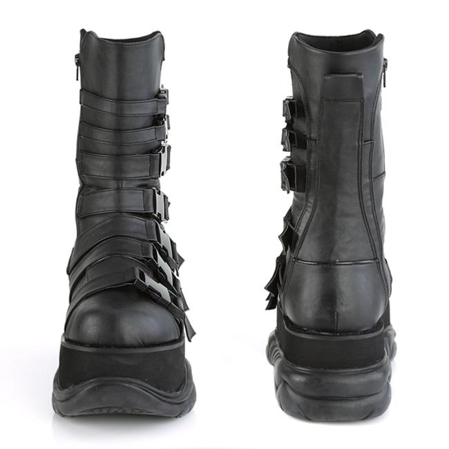 NEPTUNE-210 Demonia vegane Unisex Plateau Schnallen Stiefel schwarz Lederoptik