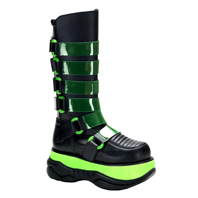 Demonia Neptune 310uv Mens Black Cyber Goth Platform Boots