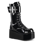 PETROL-150 Black Buckled Platform Boots