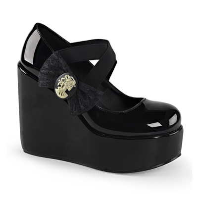 POISON-02 Skull Cameo Wedge Shoes