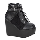 POISON-105 Black Heart Ankle Boots