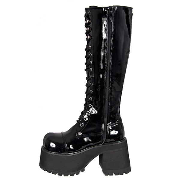 Knee High Platform Combat Boots In Black Patent Demonia