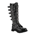 REAPER-30 Black Leather Demonia Buckle Boots
