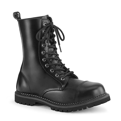 RIOT-10 Black Leather Demonia Combat Boots