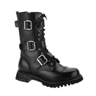 RIOT-12 Black Leather Demonia Combat Boots